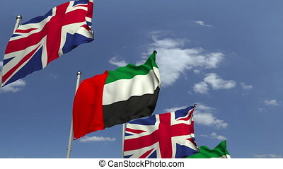 Flags of the UAE and the United Kingdom at international...