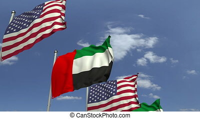 Flags of the UAE and the USA at international meeting,...