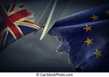 Brexit concept - Flags of the United Kingdom and the ...