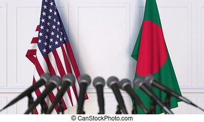 Flags of the United States and Bangladesh at international...