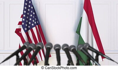 Flags of the United States and Hungary at international...