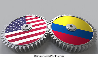 Flags of the USA and Colombia on meshing gears. International cooperation conceptual 3D rendering