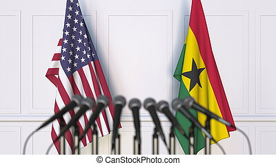 Flags of the USA and Ghana at international meeting or conference. 3D rendering