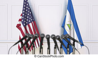 Flags of the USA and Nicaragua at international meeting or conference. 3D rendering