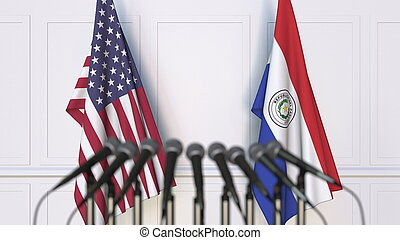 Flags of the USA and Paraguay at international meeting or conference. 3D rendering