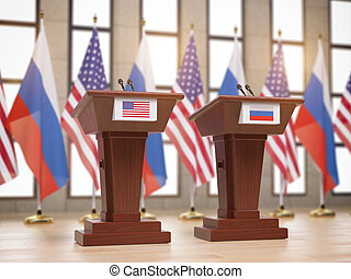 Flags of the USA and Russia and tribunes at international meeting or conference. Relationship between China and Russia concept.
