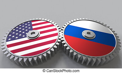 Flags of the USA and Russia on meshing gears. International cooperation conceptual 3D rendering