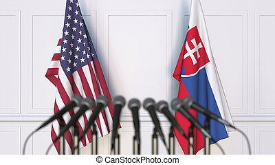 Flags of the USA and Slovakia at international meeting or conference. 3D rendering