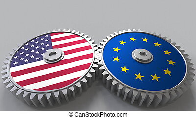 Flags of the USA and the European Union on meshing gears. International cooperation conceptual 3D rendering