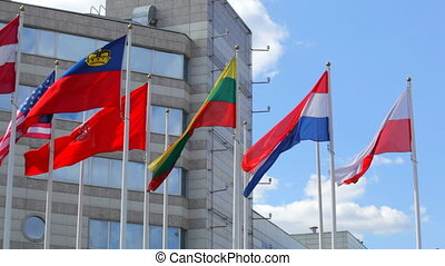 Flags of the various states on a background of modern...