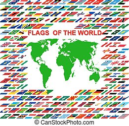 World map on old map and flags of different countries and flags of the world and map on white background vector illustra gumiabroncs Choice Image