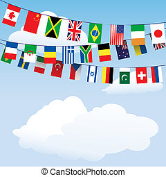 Flags of the world bunting - Flags of the World bunting on...