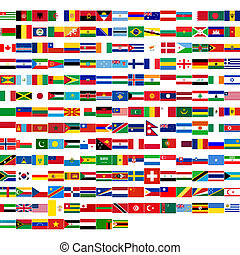 Flags of the world, including all states from all continents...