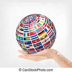 Flags of the world on a globe, held in hand.