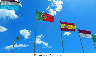 Flags of The World Wave on a Wind