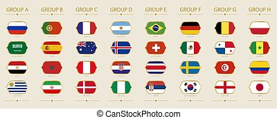 Flags of tournament sorted by group