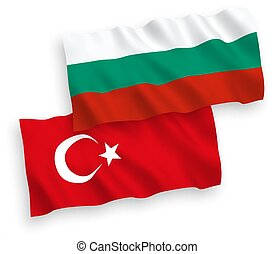 Flags of Turkey and Bulgaria on a white background -...
