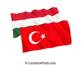 Flags of Turkey and Hungary on a white background