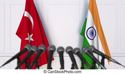 Flags of Turkey and India at international meeting or...