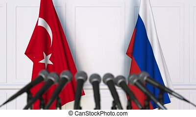 Flags of Turkey and Russia at international meeting or...