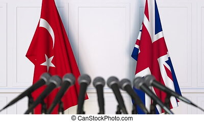 Flags of Turkey and The United Kingdom at international...