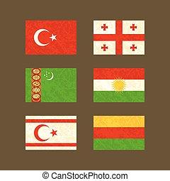 Flags of Turkey, Georgia, Turkmenistan, Kurdistan, Northern Cyprus and Rojava
