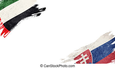 Flags of UAE and?Slovak Republic on White Background
