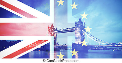 Brexit concept - flags of UK and EU combined over icons of ...