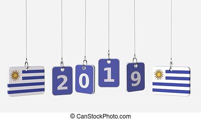 Flags of URUGUAY and 2019 text on hanging plates. Alpha...