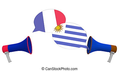 Flags of Uruguay and France on speech bubbles with loudspeakers. Intercultural dialogue or international talks related 3D rendering
