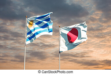 Flags of Uruguay and Japan.