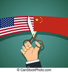 Flags of US and the China