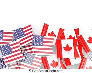 Flags of USA and Canada   isolated on white