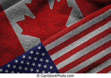 Flags of USA and Canada on Grunge Texture