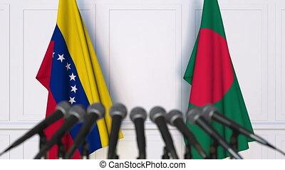 Flags of Venezuela and Bangladesh at international meeting...