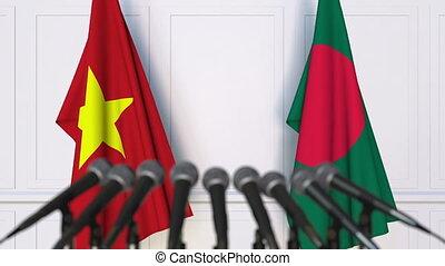 Flags of Vietnam and Bangladesh at international meeting or...