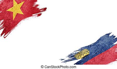 Flags of Vietnam and Liechtenstein on white background