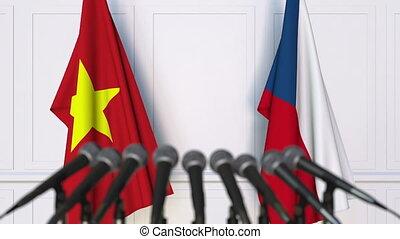 Flags of Vietnam and the Czech Republic at international...