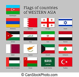 Set of flags of Asian countries - Qatar, Lebanon, Kuwait and Saudi Arabia, Arab Emirates, Cyprus, Lebanese, Oman. 17 ensigns on flagpole of Western Asia states. Vector isolated icons