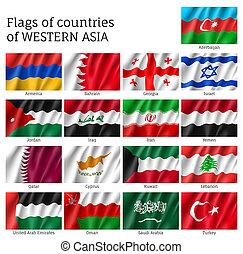 Set of waving flags of Asian countries - Qatar, Lebanon, Kuwait and Saudi Arabia, Arab Emirates, Cyprus, Lebanese, Oman. 17 ensigns on flagpole of Western Asia states.