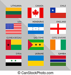 Flags of world, flat. Set number 01
