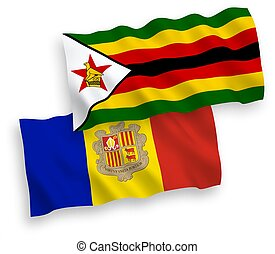 Flags of Zimbabwe and Andorra on a white background - ...