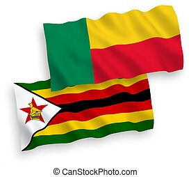 Flags of Zimbabwe and Benin on a white background - National...