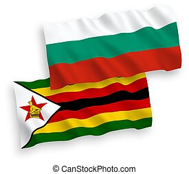 Flags of Zimbabwe and Bulgaria on a white background - ...
