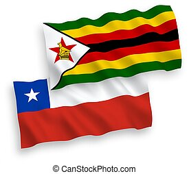 Flags of Zimbabwe and Chile on a white background - National...
