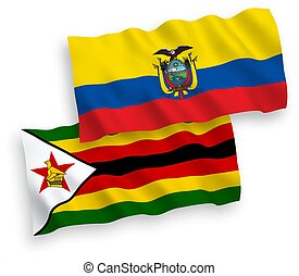 Flags of Zimbabwe and Ecuador on a white background - ...