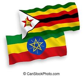 Flags of Zimbabwe and Ethiopia on a white background - ...