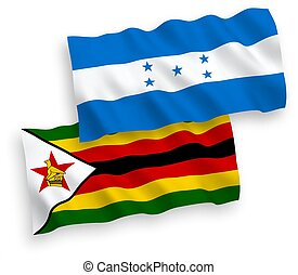 Flags of Zimbabwe and Honduras on a white background - ...
