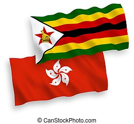 Flags of Zimbabwe and Hong Kong on a white background - ...