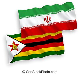 Flags of Zimbabwe and Iran on a white background - National ...